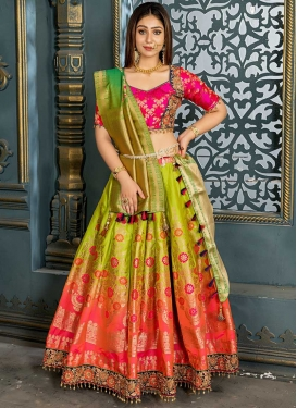 Olive and Rose Pink Beads Work Trendy Lehenga