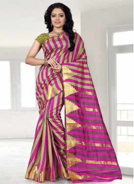 Olive and Rose Pink Cotton Silk Classic Saree
