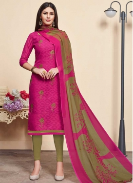 Olive and Rose Pink Cotton Trendy Churidar Salwar Kameez