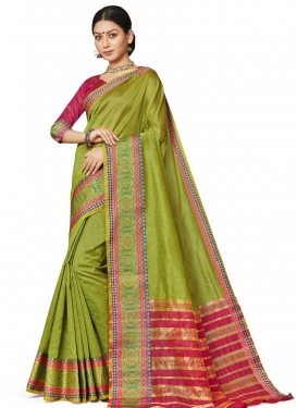 Olive and Rose Pink Designer Contemporary Style Saree For Casual