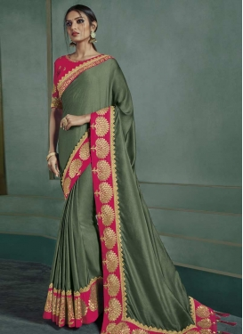 Olive and Rose Pink Embroidered Work Trendy Saree