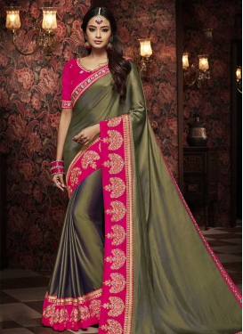 Olive and Rose Pink Satin Silk Traditional Designer Saree
