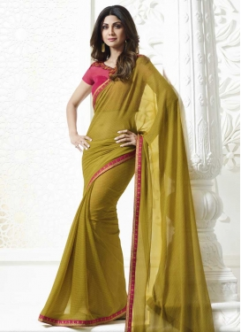 Olive and Rose Pink Shilpa Shetty Designer Contemporary Style Saree