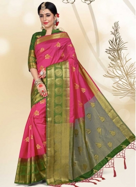 Olive and Rose Pink Thread Work Traditional Designer Saree