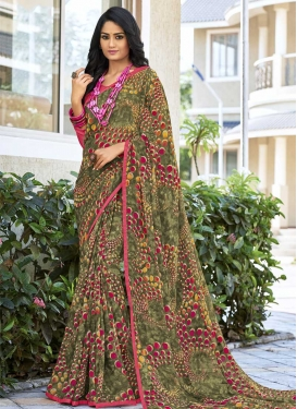 Olive and Rose Pink Traditional Saree