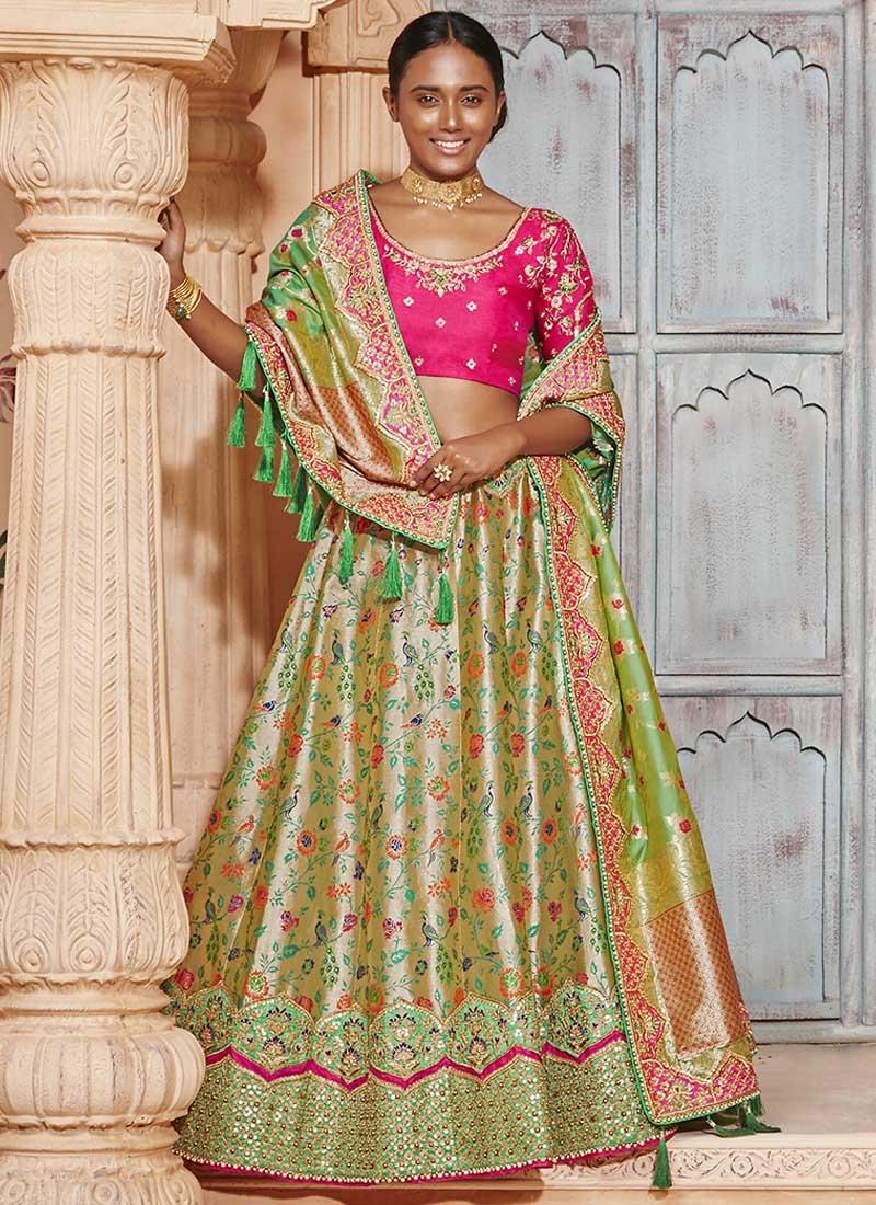 Olive and Rose Pink Trendy Lehenga Choli For Bridal