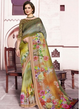 Olive and Rust Digital Print Work Contemporary Style Saree