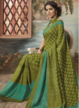 Olive and Sea Green Art Silk Trendy Classic Saree