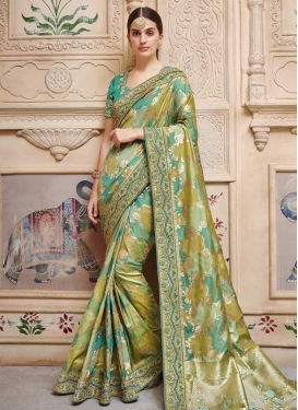 Olive and Sea Green Jacquard Silk Trendy Saree