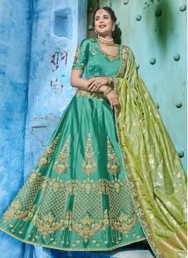 Olive and Sea Green Silk Trendy Lehenga Choli For Bridal