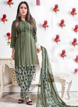 Olive and White Crepe Silk Semi Patiala Suit