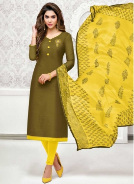 Olive and Yellow Beads Work Cotton Silk Churidar Suit