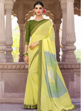 Olive and Yellow Contemporary Style Saree For Ceremonial