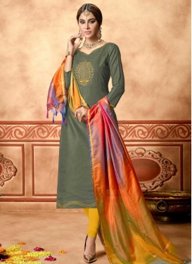 Olive and Yellow Cotton Trendy Churidar Salwar Suit