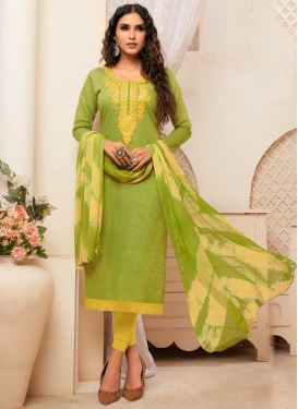 Olive and Yellow Embroidered Work Churidar Salwar Suit