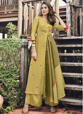 Olive and Yellow Embroidered Work Readymade Designer Gown