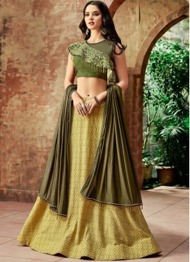 Olive and Yellow Lycra Designer A Line Lehenga Choli