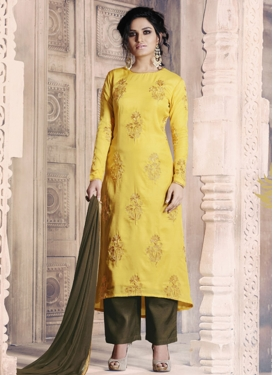 Olive and Yellow  Pant Style Straight Salwar Kameez