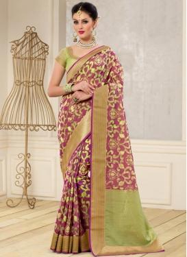 Opulent Banarasi Silk Fuchsia and Mint Green Contemporary Style Saree