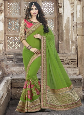 Opulent Beads Work  Faux Georgette Designer Contemporary Style Saree