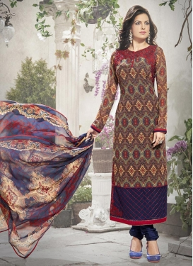 Opulent Brown and Navy Blue Pakistani Salwar Kameez For Festival