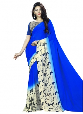 Opulent Faux Georgette Blue and White Print Work Traditional Saree