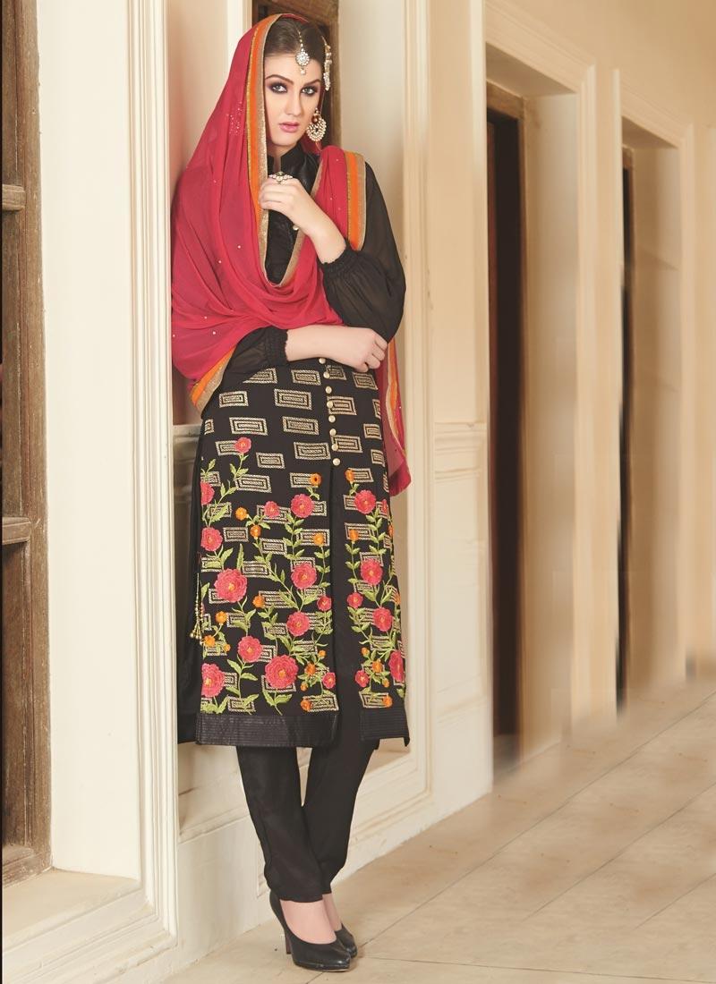 Opulent Faux Georgette Pant Style Designer Suit