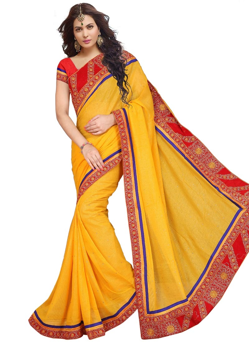 Opulent Gold Color Lace Work Party Wear Saree