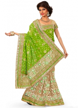 Opulent Mint Green Color Viscose Half N Half Wedding Saree