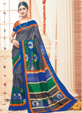 Opulent Print Work Traditional Saree