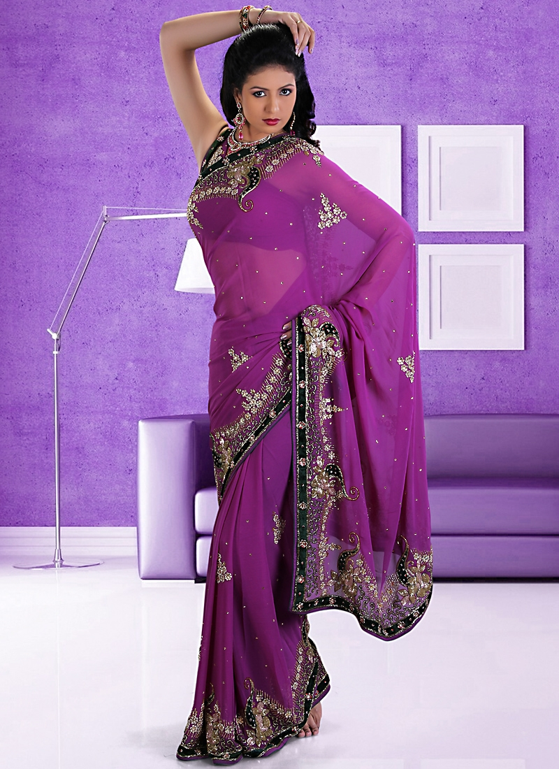 Opulent Purple Chiffon Velvet Patch Bridal Saree
