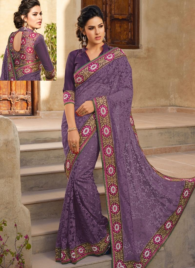 Opulent Purple Color Georgette Party Wear Saree