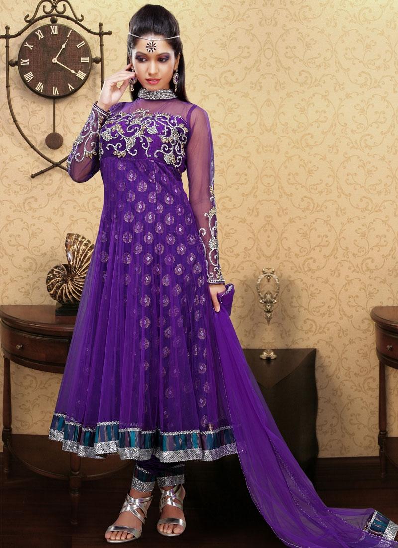 Opulent Purple Net Designer Salwar Kameez