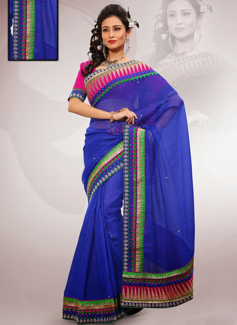 Opulent Resham And Patch Work Party Wear Saree