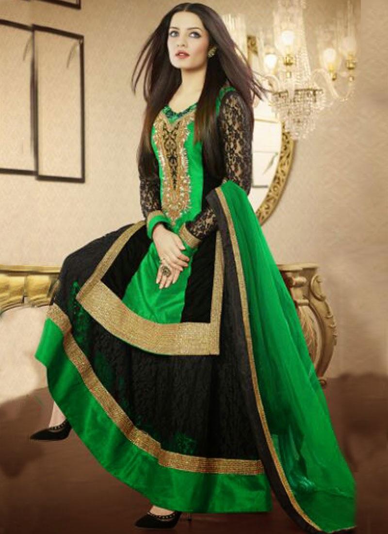 Opulent Resham Work Celina Jaitley Designer Salwar Suit