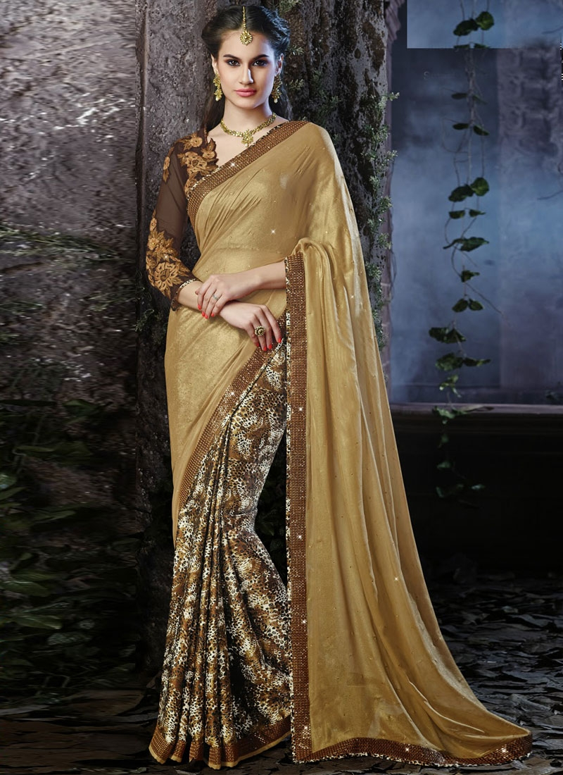 Opulent Resham Work Digital Printed Half N Half Saree