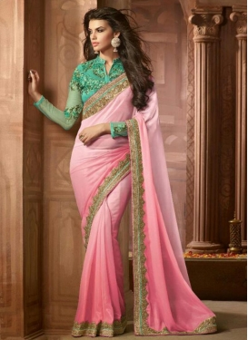 Opulent Shimmer Georgette Embroidered Work Traditional Saree
