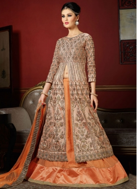 Orange and Peach Booti Work Designer Kameez Style Lehenga Choli