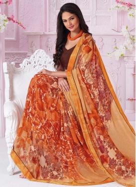 Orange and Peach Contemporary Style Saree
