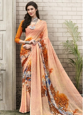 Orange and Peach Digital Print Work Contemporary Style Saree