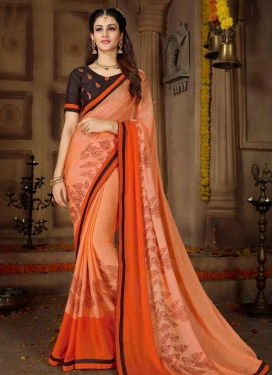 Orange and Peach Satin Georgette Trendy Saree