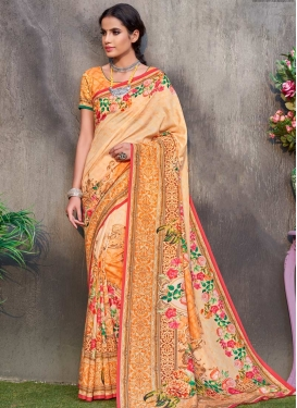 Orange and Peach Trendy Classic Saree For Festival