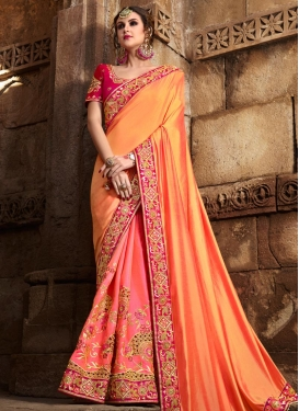 Orange and Pink Beads Work Half N Half Trendy Saree