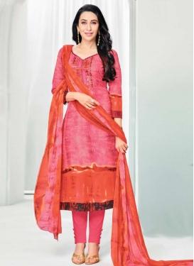 Orange and Pink Karisma Kapoor Cotton Satin Pant Style Pakistani Salwar Suit