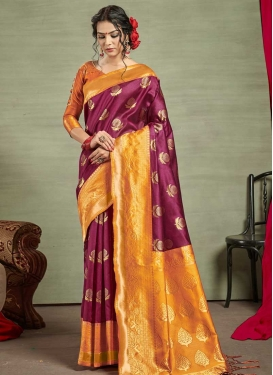 Orange and Purple Art Silk Designer Contemporary Saree