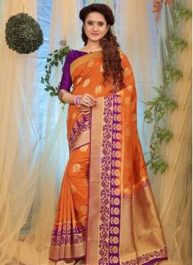 Orange and Purple Classic Saree For Ceremonial