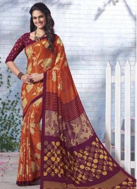 Orange and Purple Trendy Saree