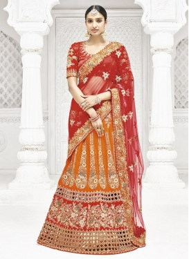 Orange and Red A - Line Lehenga For Bridal