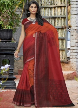 Orange and Red Art Silk Classic Saree