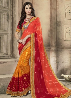 Orange and Red Bandhej Print Work Trendy Classic Saree